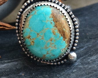Turquoise Ring, Number Eight Turquoise Ring, Sterling Silver Ring, Size 6.75 Ring