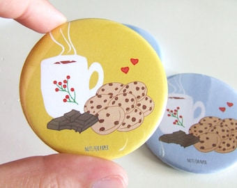Chocolate Chip Cookies! - Yellow - Badge - 57mm Large Pin 2.25 inch - Illustration - Pinback Button