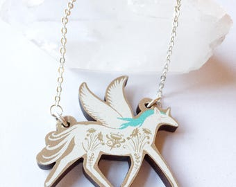pegasus pendant - unicorn pendant - unicorn necklace- wooden pendant - laser cut necklace