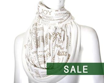 "Book scarf ""Prosperity Scarf"" wellness gift prosperity talisman, Ivory color"