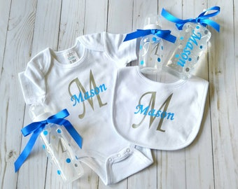 New baby gift set - baby boy gift - baby shower gift - personalized baby gift - custom baby gift - baby gift for boy - new baby boy gift