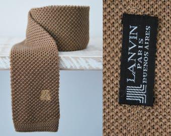 Vintage 1960s LANVIN  clear brown Square End Knit Tie, Vintage Square End Knit Tie, Wool Knit Tie, Flat End Tie, Slim Tie
