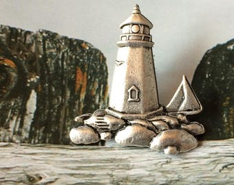 Lighthouse with Sailboat Brooch - Lighthouse Pin - BZ Designs