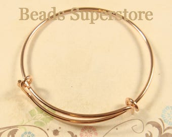 65 mm (2.56 Inch) Rose Gold-Plated Brass Adjustable Bangle Bracelet - Nickel Free, Lead Free and Cadmium Free