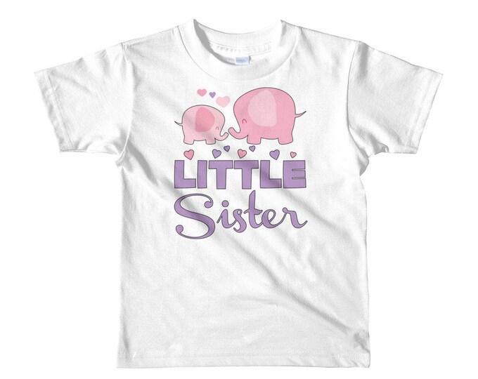 Little Sister Kids T-Shirt - Little Sister Shirt - Elephant Little Sister - little sister outfit, sister outfit, big sis little sis, baby si