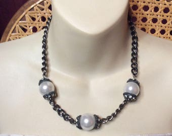 Blackened metal chain large faux pearl rhinestone rondelles necklace.