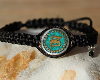 ethnic bracelet with Pearl Tibetan and turquoise beads