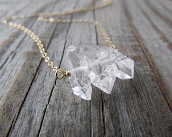 Herkimer Diamond Necklace, big raw diamond and gold gemstone necklace