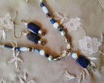 Lapis necklace earring set, Bohemian hippie gypsy Lapis lazul opal crystal silver necklace earring set