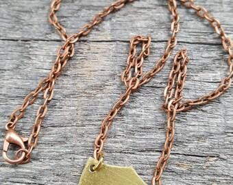 Natural Brass Unique Charm Pendant Necklace with Antique Copper Chain