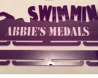 Personalised swimming medal rack