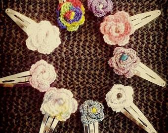 9 mini crocheted rose hair clips