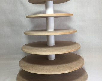 "7 Tier Round Unfinished Cupcake Stand with 1/2"" thick tiers.  Holds up to 206 Cupcakes"