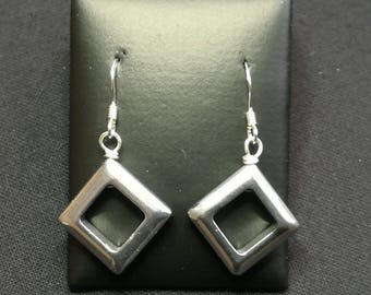 Wire Wrapped Drop Earrings with Hematite Squares
