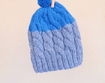 CLEARANCE | FINAL SALE | Hand knit Beanie, Grey and Blue, Warm Toque, Colorblock Hat, Winter Women Pom-Pom Hat