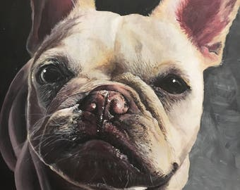 Custom Pet Portrait Painting (French Bulldog)
