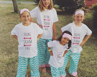 Slumber party pajama pants/girls party pajamas/birthday party pajamas/birthday party/matching girls pajamas/girls matching pajamas