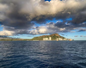 "Travel Photography, ""Diamond Head from the Boat"", Hawaii Photography, Landscape, Metallic Finish, Customizable Sizes Upon Request"