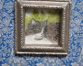 12th scale,Original Framed Watercolour Painting, Black & White Fluffy Cat