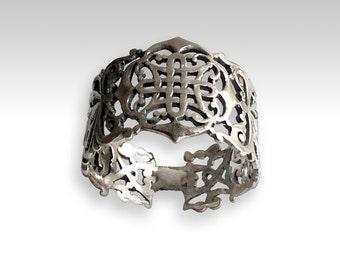 Bague en argent, anneau large en filigrane, bague boho, bande argent oxydé, bande simple, ring gypsy, un anneau de pouce, une bague unique pour elle - Vertigo R2215