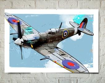 Airplane Print - Spitfire - Airplane Art, WWII vintage airplane, Military Gift, Airplane Decor, Aviation, Airplane Nursery, Pilot gift