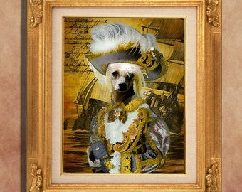 Chinese Crested Dog Art Print 11 x 14 inch original illustration artwork giclee archival premium poster print By Nobility