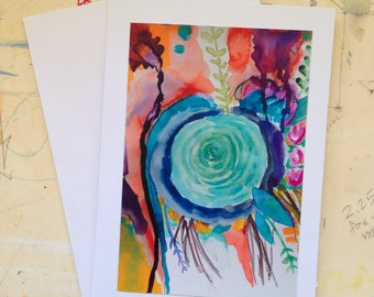 The Aqua Rose - The Greeting Card, Blank, Stationary, Snail Mail, Mail Art