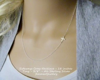 Cross Necklace / Sideways Cross Necklace / Christian Necklace / Faith Charm / Religious Jewelry / Christian Friend Gift / Baptism