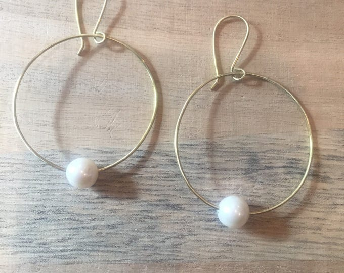 Freshwater Pearl Gold Hoops, Gold Hoops, Hoop Earrings, Gold and Pearl Earrings