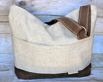 Diaper Bag, Our Demi - a best seller!  Linen & Waxed Canvas colors, by Darby Mack and made in the USA