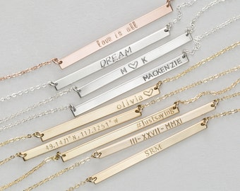 Long Skinny Bar Necklace • Personalized Name Plate Necklace • Rose Gold Fill or Sterling Silver Custom Hand Stamped Bar Necklace, LN130_40_H