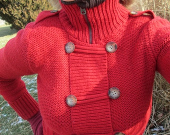 American Eagle Sweater, Cardigan, Red Vintage Sweater, Size S / P