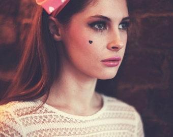 Pink and White Heart Bow Headband, Valentine's Day Hair Accessory, Girly Pin Up Headband