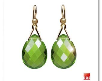 18K Green Quartz Earrings, 14K Green Quartz Earrings, 18K Parrot Quartz Earrings 14K, 18K Solid Gold Earrings, 14K Gold Leverback Earrings