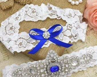 Garter Set, Bridal Garter, Wedding Garter, Blue Garter, Lace Garter, Bridal Garter Set, Lace Garter Set, Crystal Blue Garter Set.