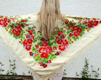 grandmother gift Wool scarf wool shawl floral scarf Vintage shawl Vintage Ukrainian shawl Russian shawl Shawl ivory shawl