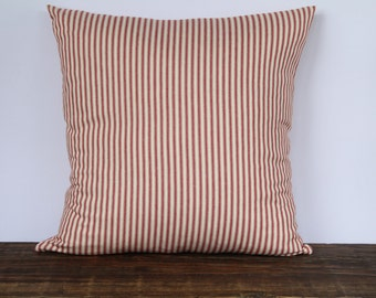 Farmhouse Red Ticking Pillow, French Ticking, Decorative Pillow Cover, Decorative couch pillow Cover, Farmhouse Pillow Cover - RED STRIPE