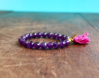 Amethyst Mala Tassel Bracelet 21 Bead Meditation Bracelet Crystal Mala Prayer Beads Gemstone Beaded Bracelet Sari Silk Tassel Yoga Jewelry