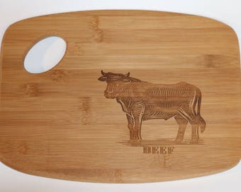 Laser engraved wood cutting board - Cow or Chicken