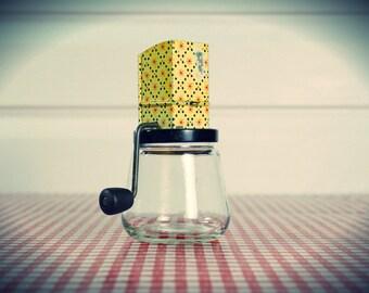 Vintage 1940s/50s Hazel Atlas Androck Nut, Coffee, or Spice Grinder with Glass jar bottom