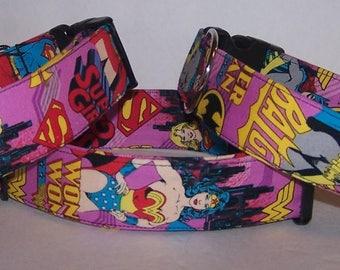 Girl Power Superhero Dog Collar Batgirl Supergirl Wonder Woman Bright Pink D C Comics