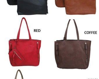 Monogrammed Faux Zipper Handbag/ MORE COLORS--Bucket Style Tote/Great Gift/ All Season Bag