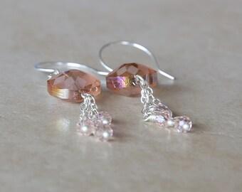 Pastel Pink Flower Dangle Earrings