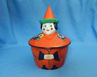 Noritake Figural Clown Inkwell, Vintage Porcelain Inkwell, Noritake Art Deco Inkwell