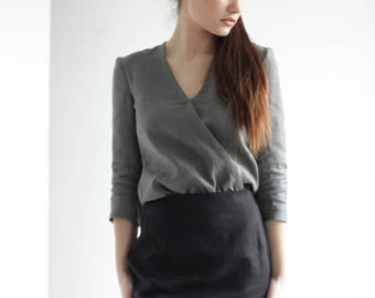 Linen Shirt, Gray Linen Shirt, Linen Shirt Women, Shirts for women,  Linen Top, Womens Linen Clothing, Linen Blouse, Linen Clothes