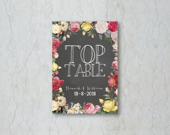 Floral Chalkboard Table Name