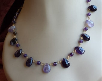 Amethyst teardrop one strand necklace gold hand linked