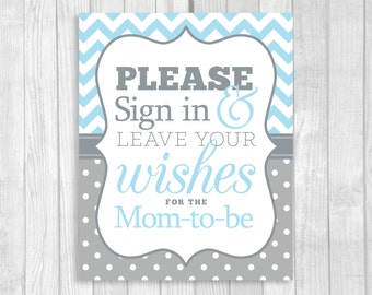 Please Sign in and Leave Your Wishes 5x7, 8x10 Printable Mom-to-Be Baby Shower Guest Book Sign in Light Blue Chevron and Gray Polka Dots