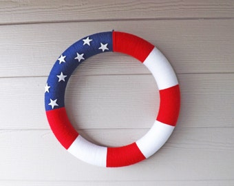 Patriotic Red White and Blue Yarn Wreath