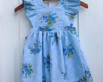 2T Vintage blue floral pinafore Ready-to-ship
